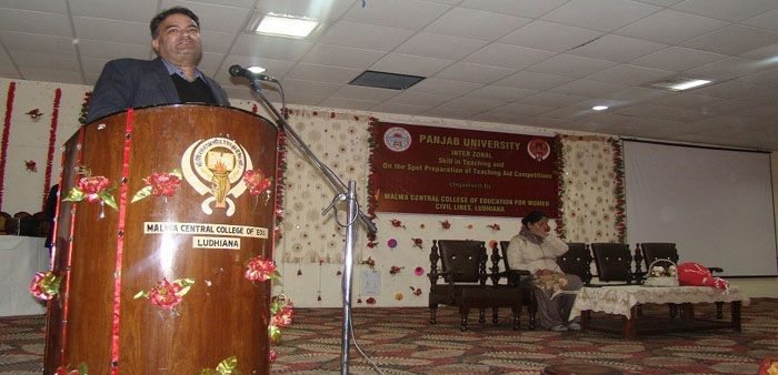 Dr. Jatinder Grover, Dean, Faculty of Education, Panjab University, Chandigarh addressing the participants during Interzonal Skill in Teaching Competitions